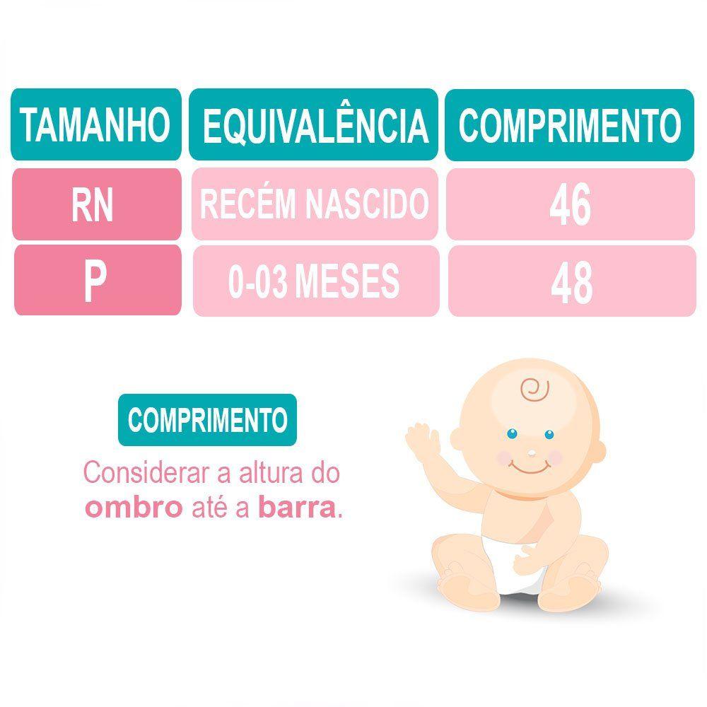 Saída Maternidade Manga Longa 4 Peças Malha e Tricoline Rosa e Palha Ursinha Poá