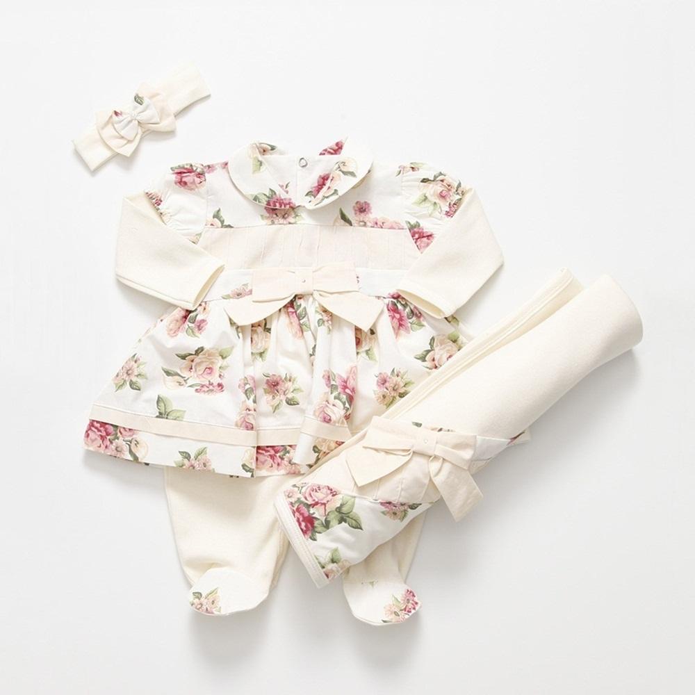 Saída Maternidade Manga Longa Floral Laço com Faixa
