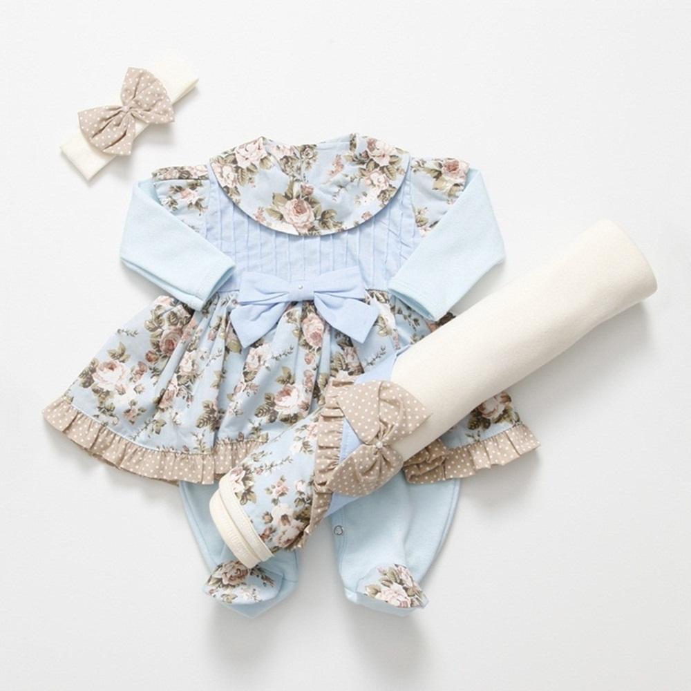 Saída Maternidade Manga Longa Floral Laço Poá com Faixa