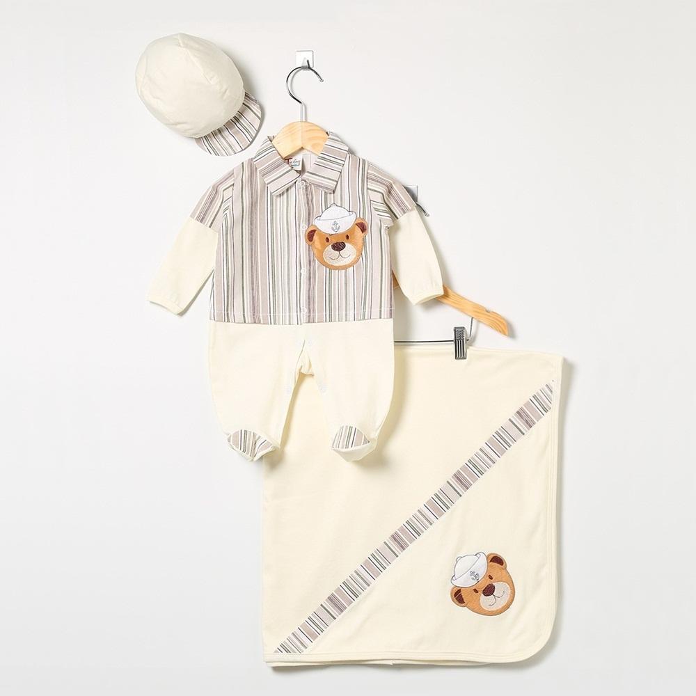 Saída Maternidade Manga Longa Urso Marinheiro Listrado
