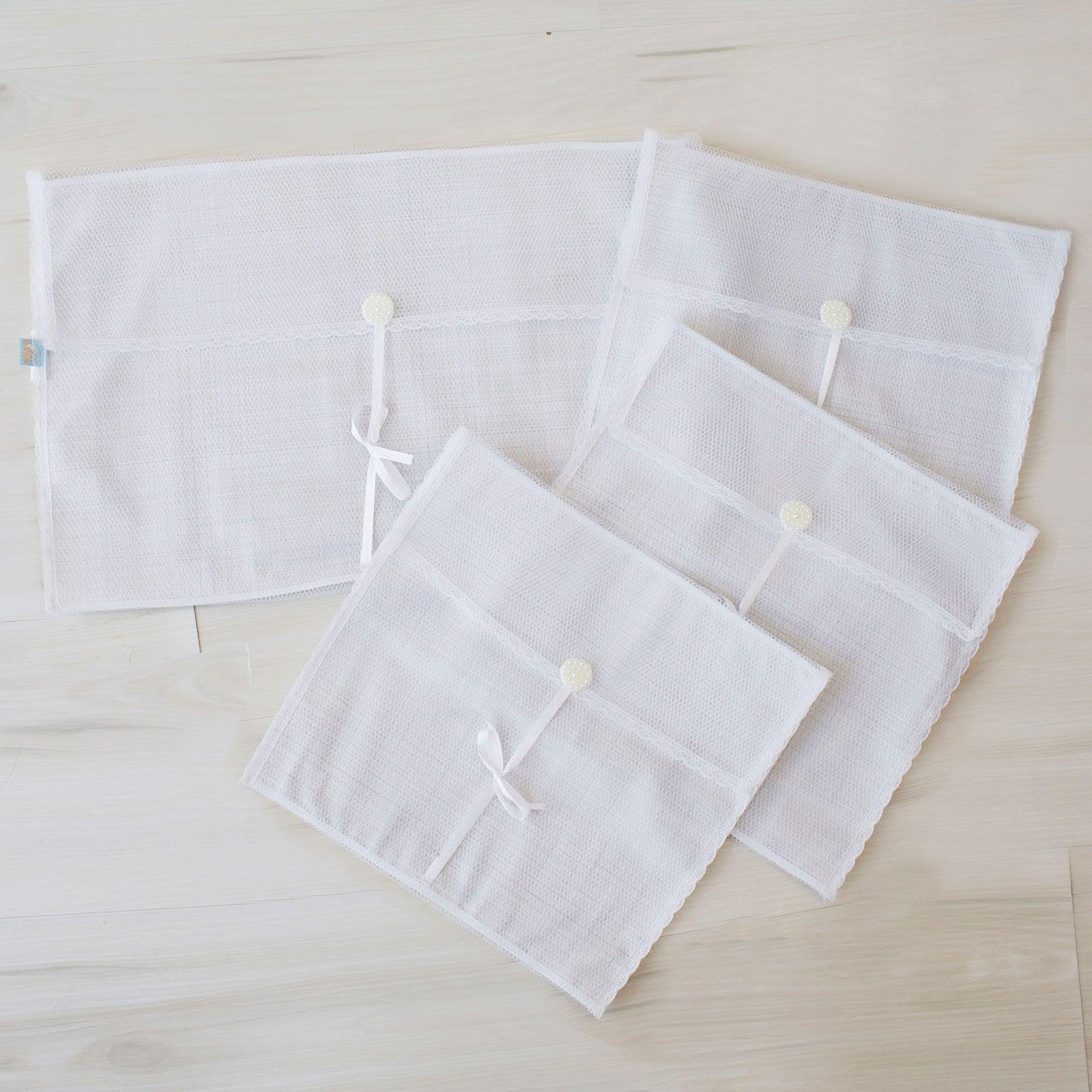 Saquinhos Maternidade Grande para Roupas Duplo Tule Xadrez Cinza e Branco com Pérolas