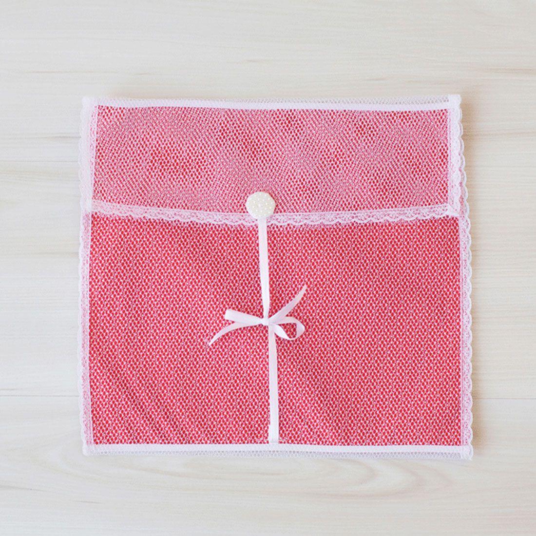 Saquinhos Maternidade Médio para Roupas Duplo Tule Poá Vermelho e Branco com Pérolas