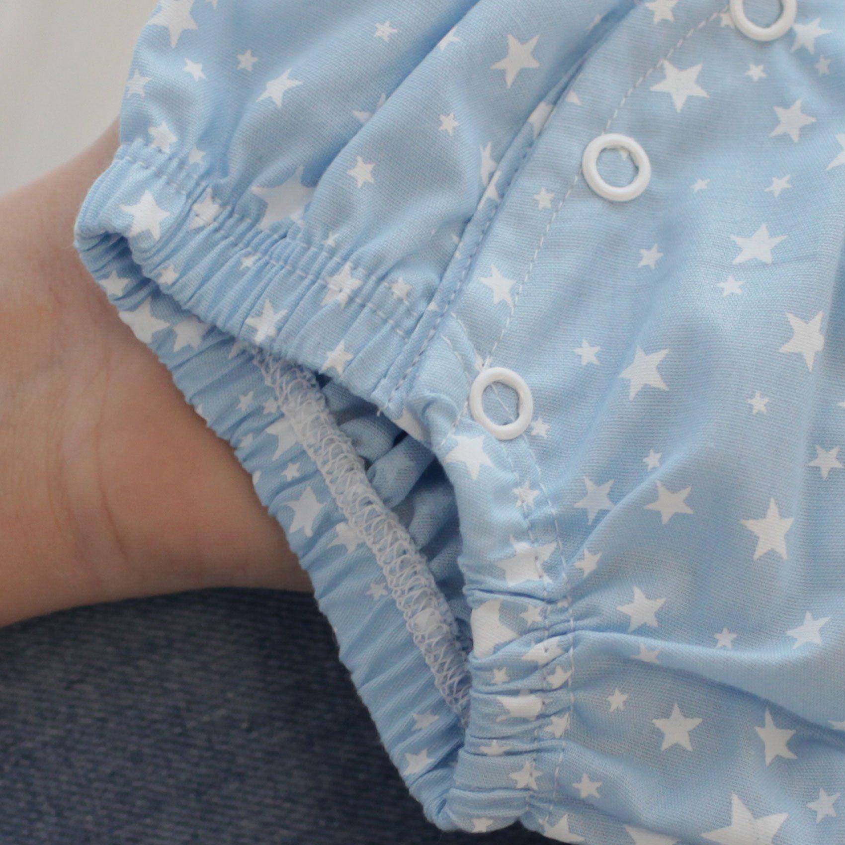 Tapa Fralda Tricoline Estrelas Azul e Branco com Botões de Pressão