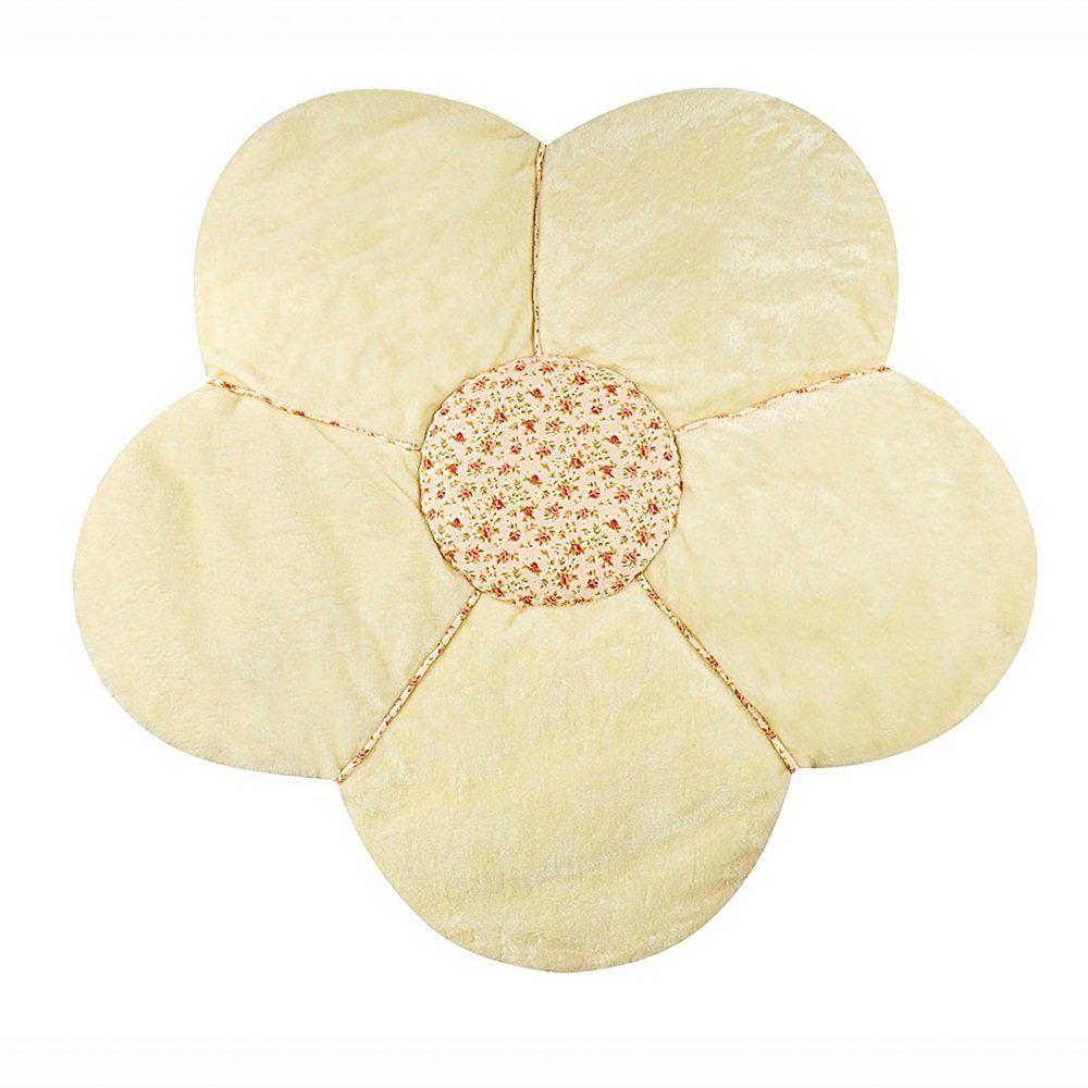 Tapete de Pelúcia Emborrachado Flor Palha