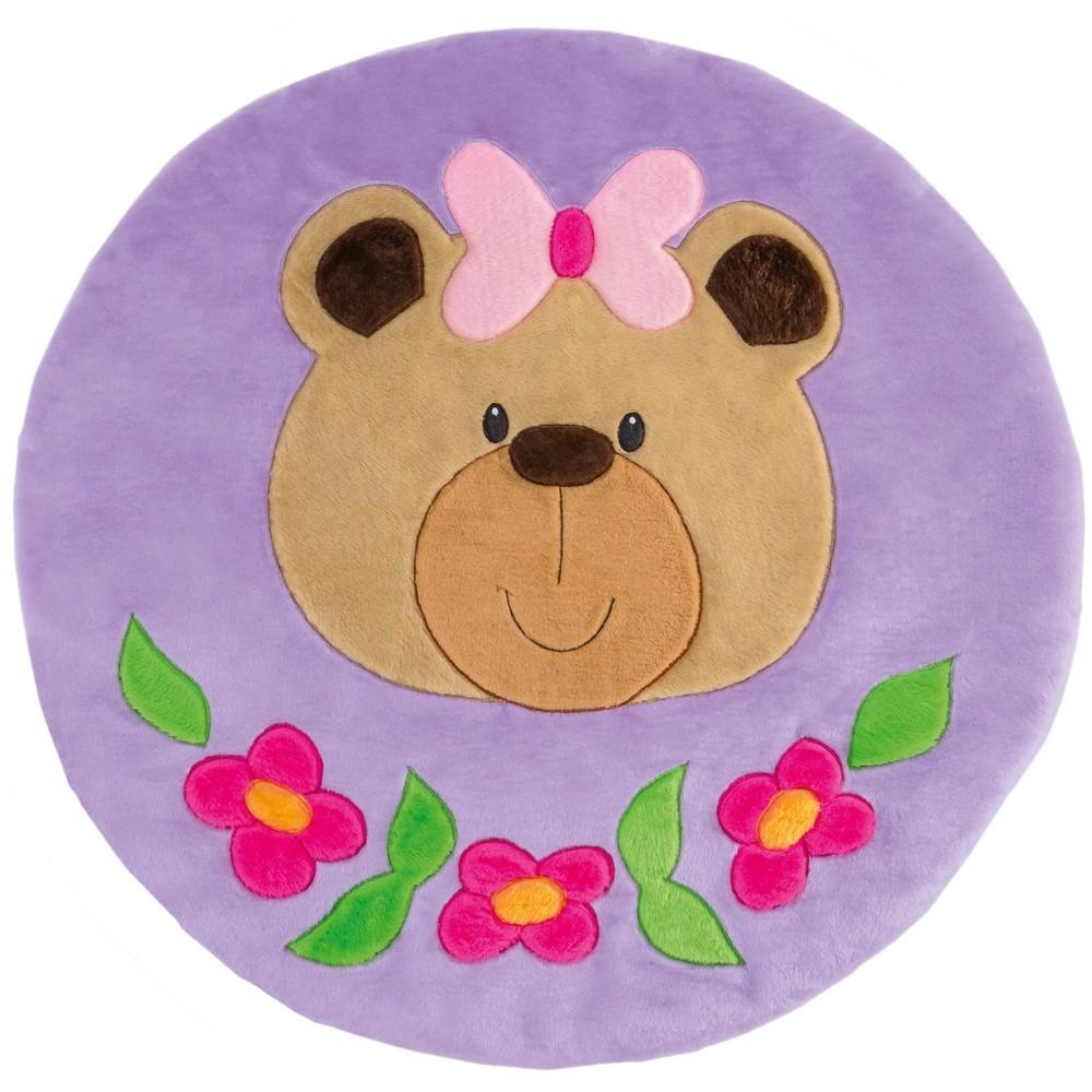 Tapete Grande Emborrachado Redondo Ursa Flor