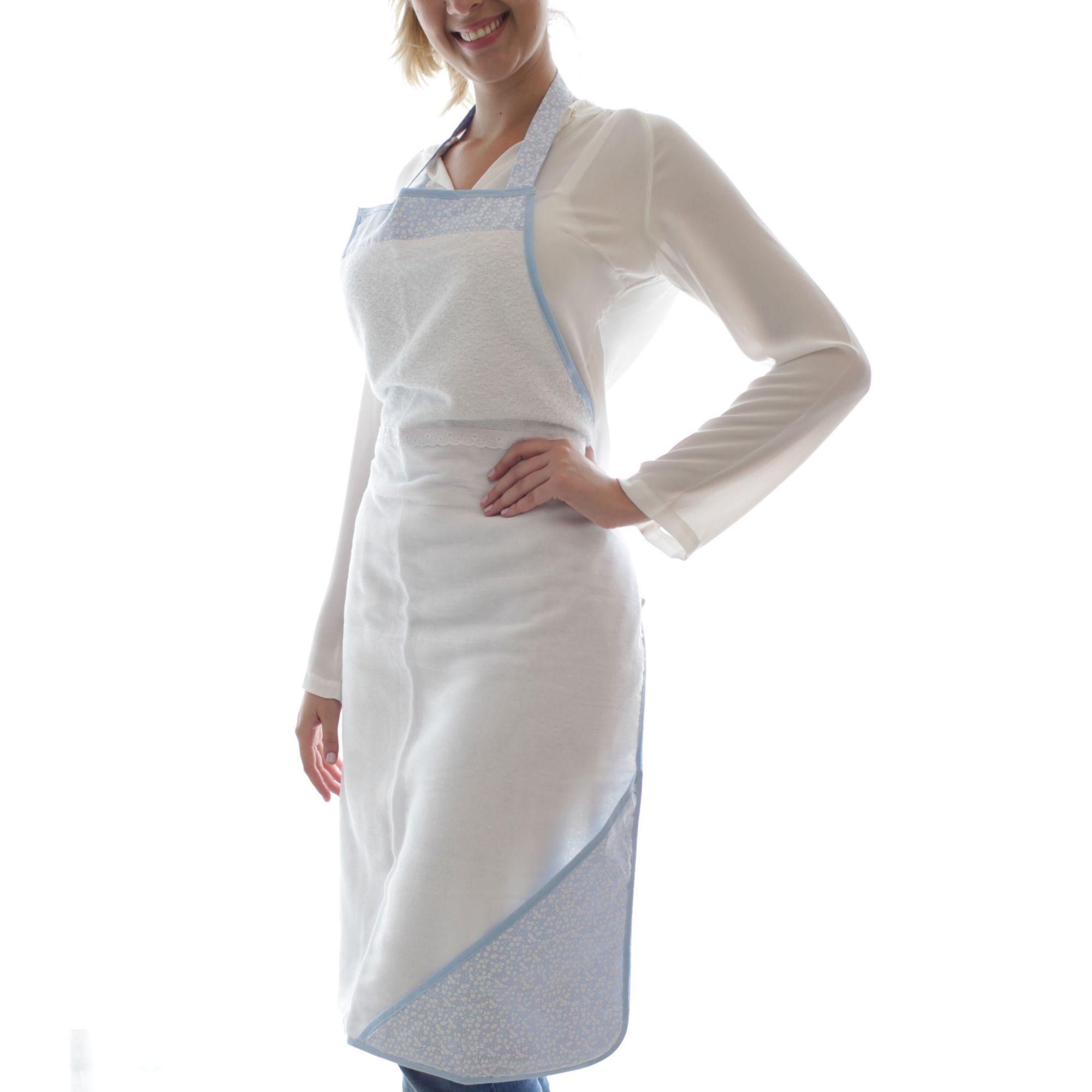 Toalha de Banho Avental Felpuda Forrada Fralda com Capuz Flores Azul e Branco