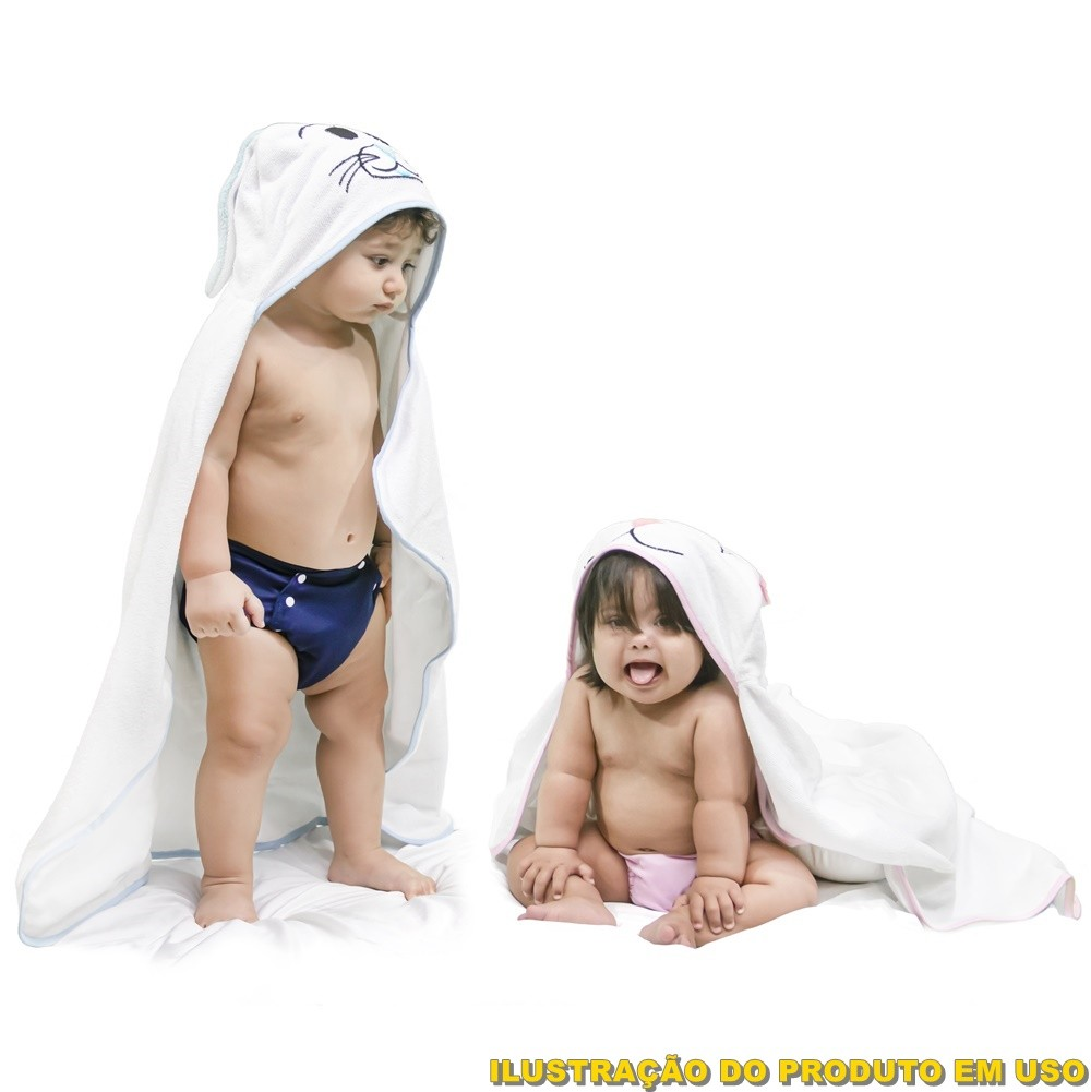 Toalha de Banho Bebê e Infantil Forrada com Capuz e Viéz Bichinho Coelha Rosa