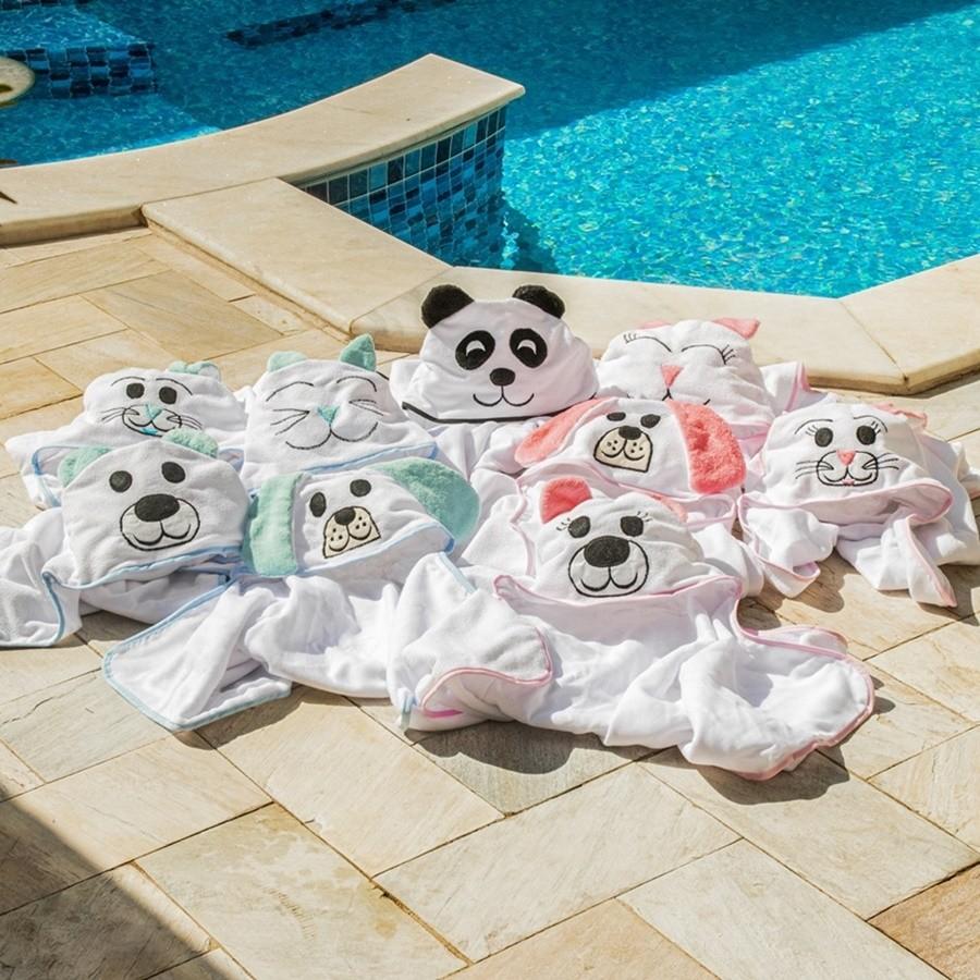 Toalha de Banho Bebê e Infantil Forrada com Capuz e Viéz Bichinho Panda Preto