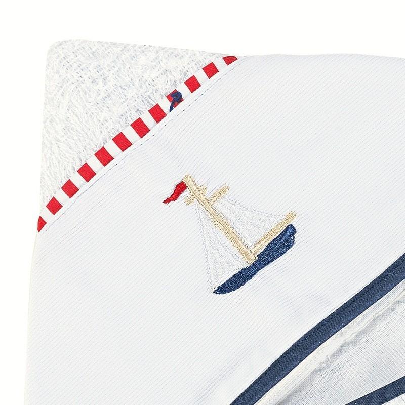 Toalha de Banho Felpuda Forrada Fralda Capuz Bordado Barco Viés Marinho