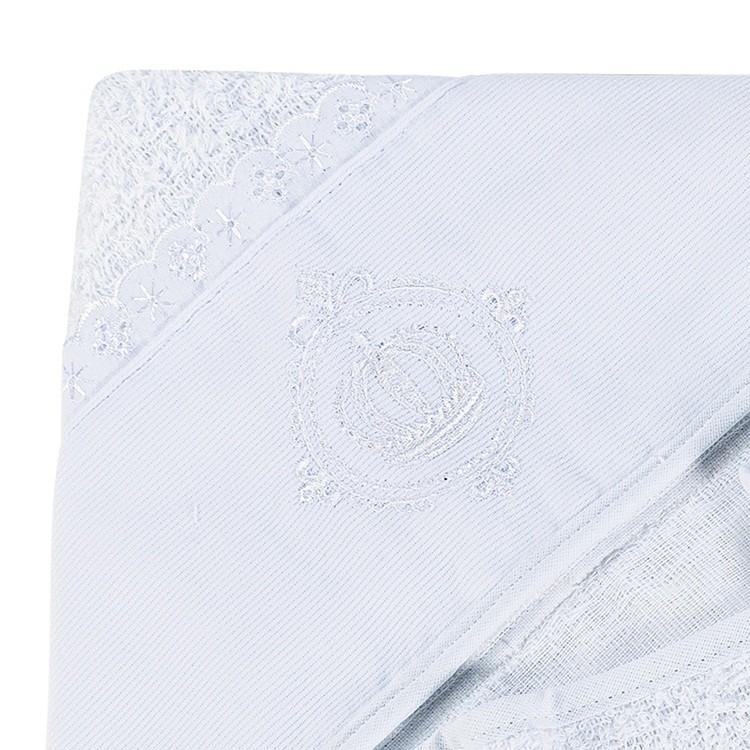 Toalha de Banho Felpuda Forrada Fralda Capuz Bordado Coroa Flor de Liz Viés Branco
