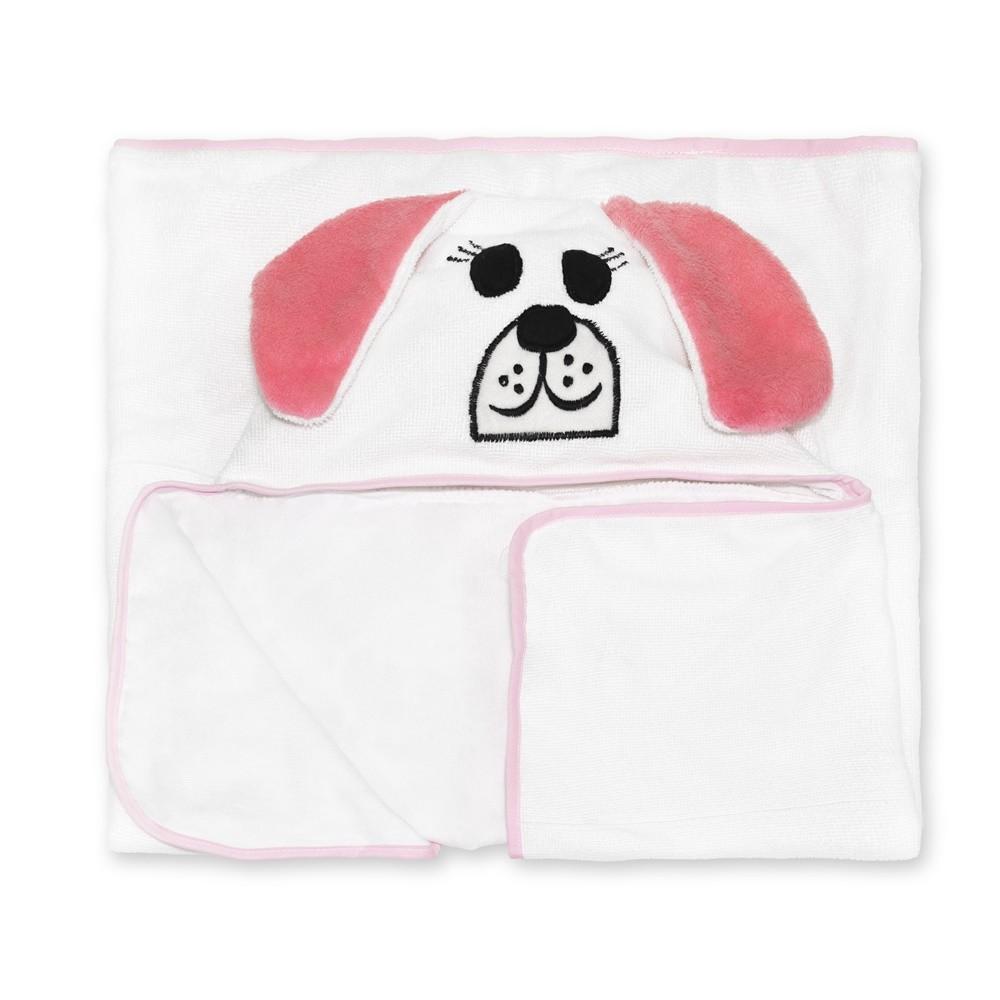 Toalha de Banho Pet Forrada com Capuz e Viéz Bichinho Cachorra Rosa
