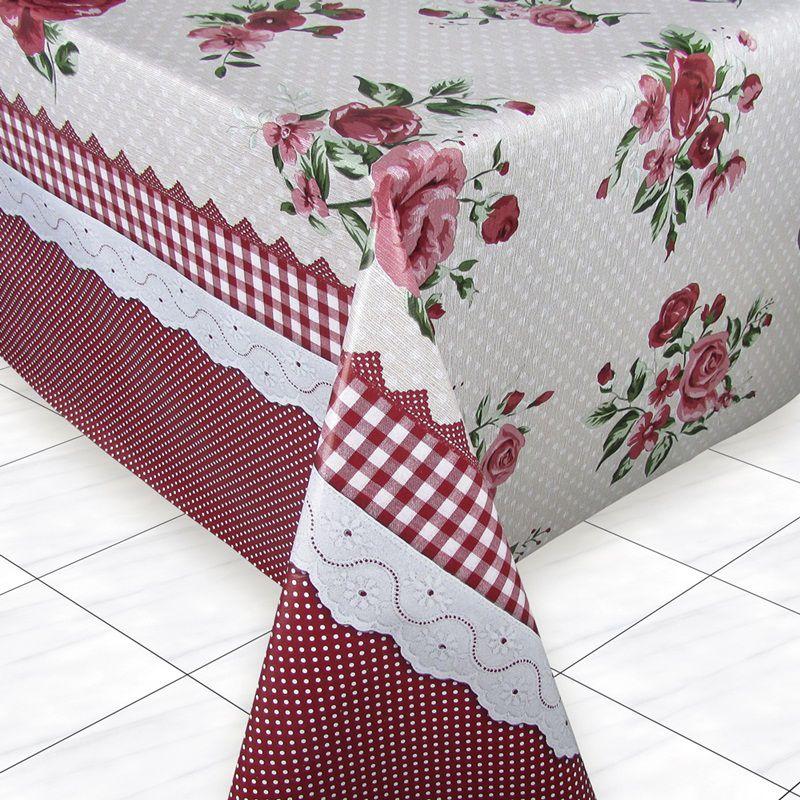 Toalha de Mesa Térmica Estampada Floral Poá 1,50 x 1,40 para Mesa de 4 Lugares