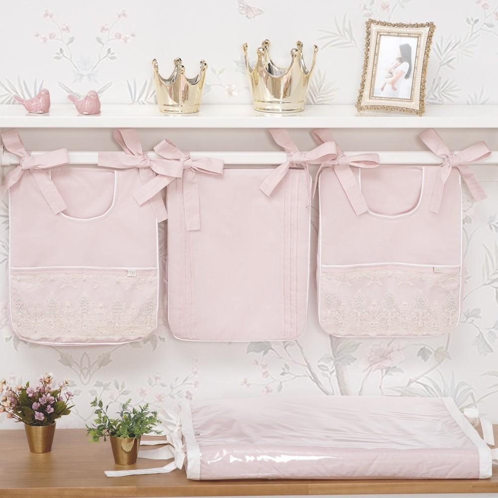 Trocador de Fraldas Anatômico para Bebê Plastificado Percal 300 Fios Rosa e Palha Coleção Lelis