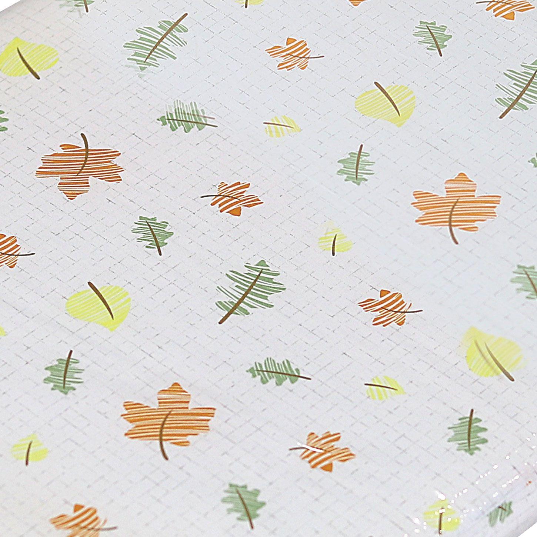 Trocador de Fraldas Folhas Laranja Verde para Cômoda Bebê Plastificado Coleção Folhas