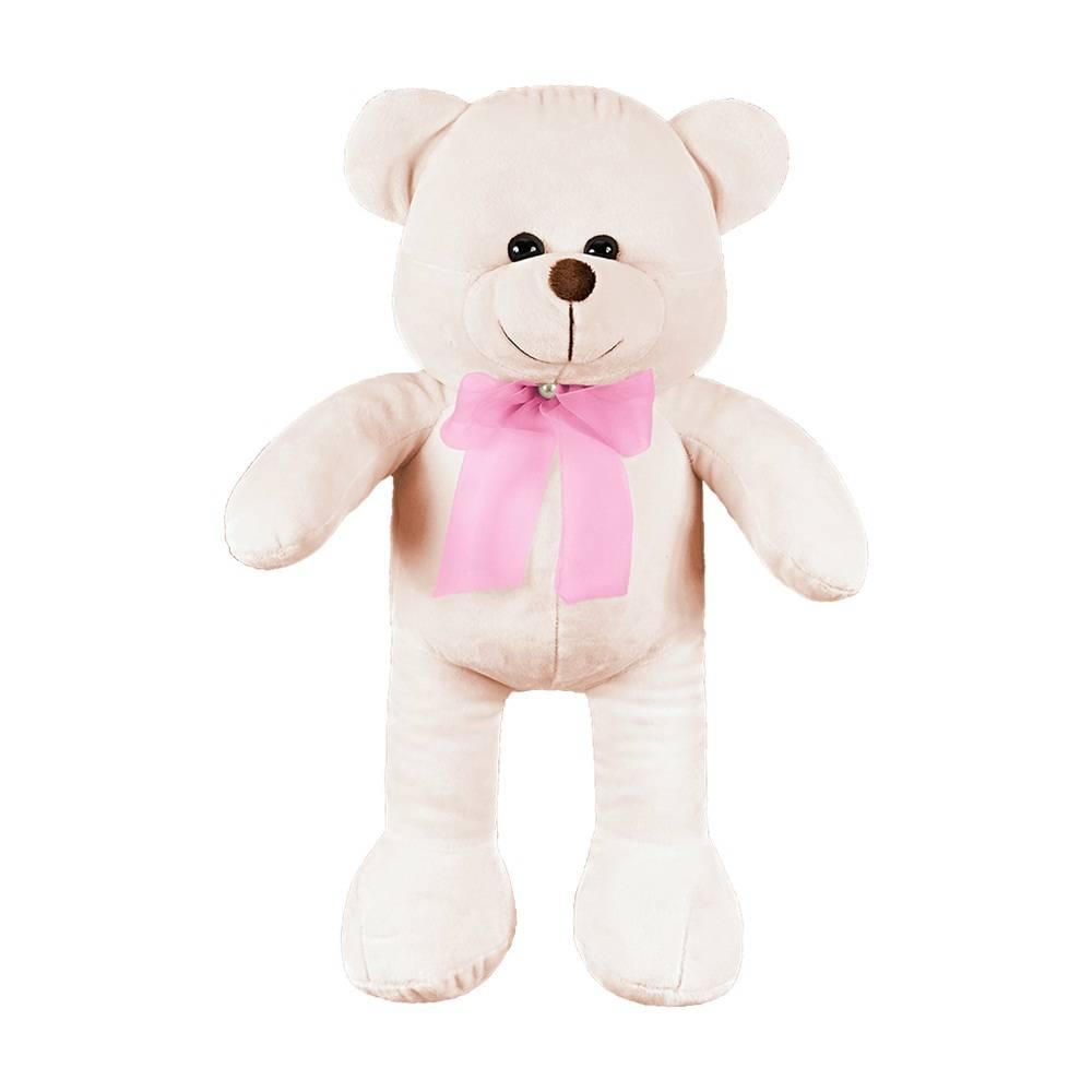 Ursa Grande Palha Laço Rosa Pérola