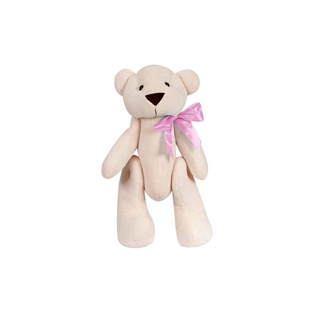 Ursa Palha Pelúcia Mini Articulada Laço Cetim Rosa