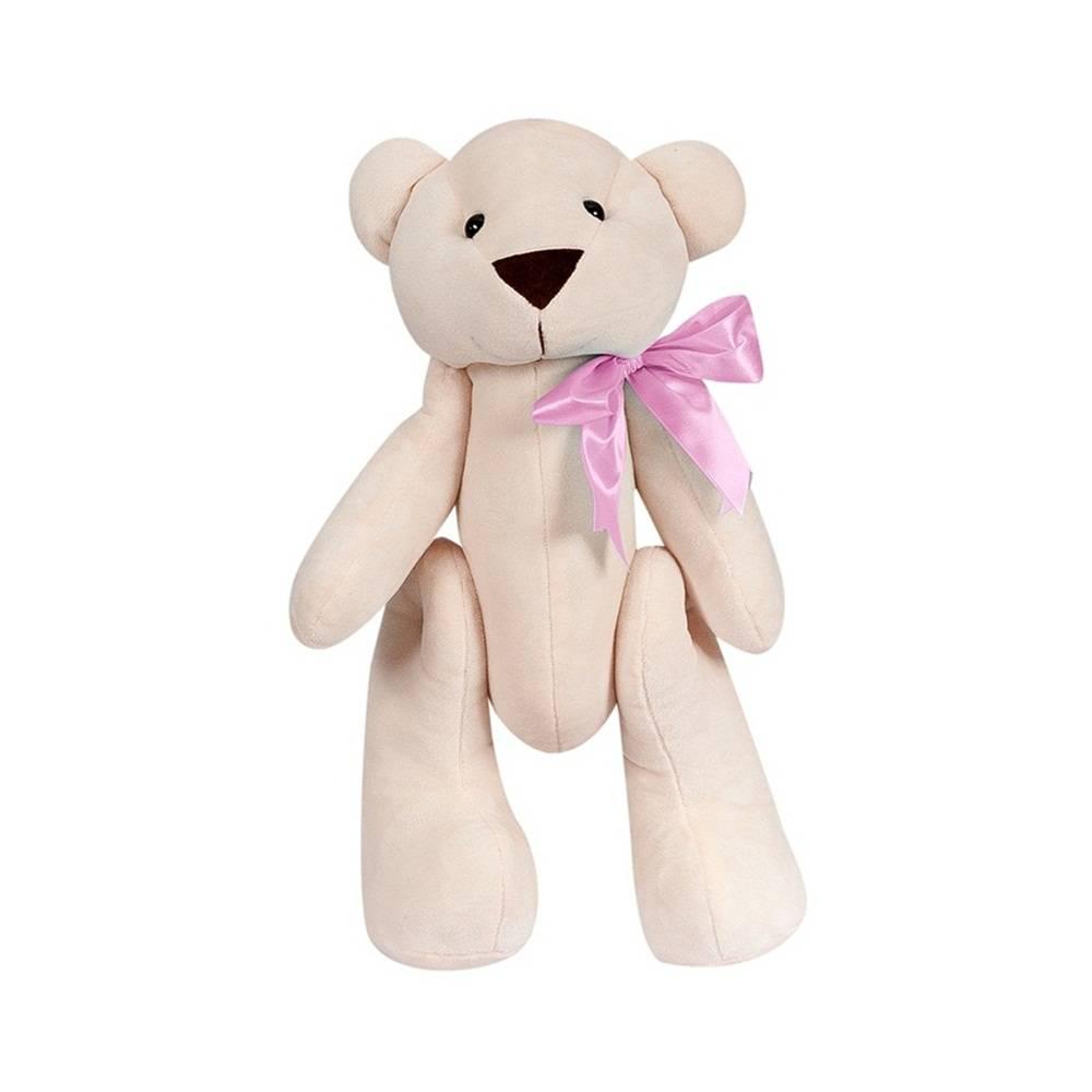 Ursa Palha Pelúcia Pequena Articulada Laço Cetim Rosa