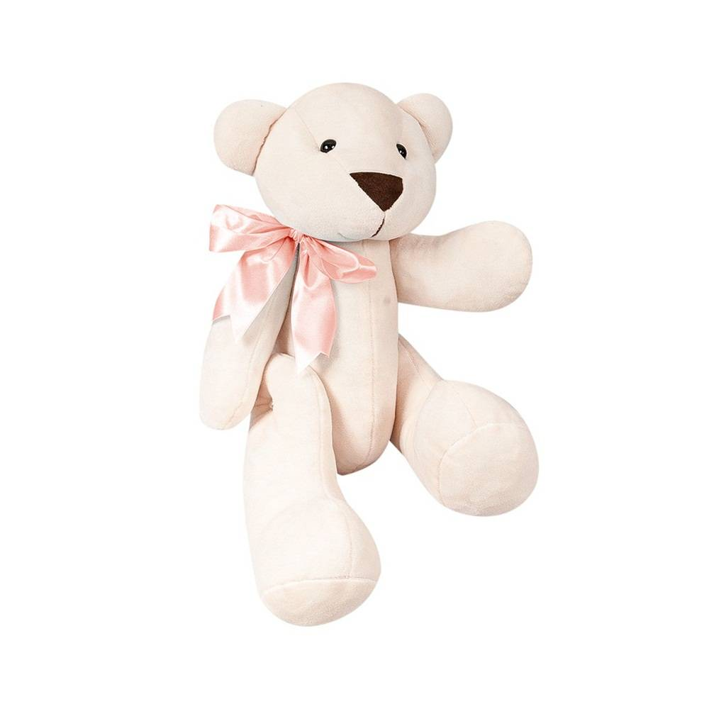 Ursa Palha Pelúcia Pequena Articulada Laço Cetim Salmão