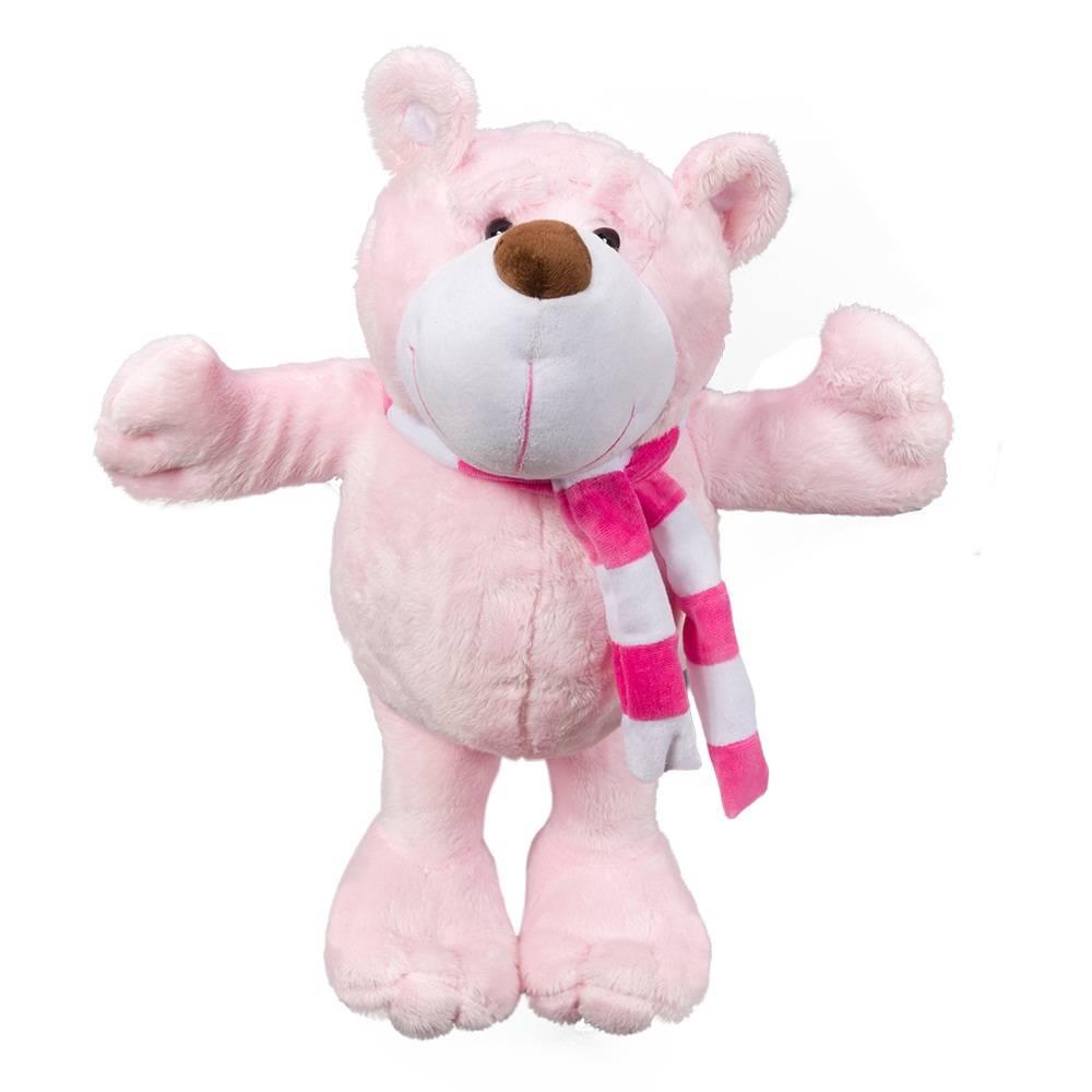 Ursa Pelúcia Importada Grande Rosa Cachecol Listrado