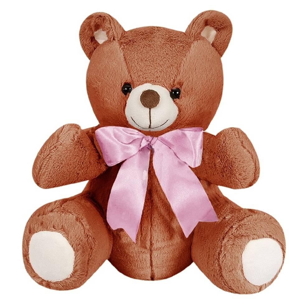 Ursa Pelúcia Importada Pequena Marrom Laço Rosa