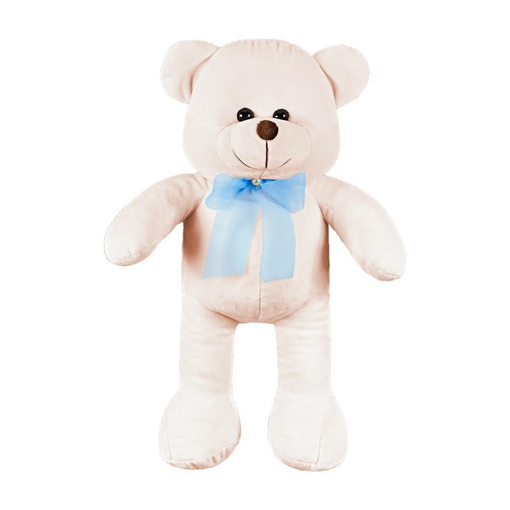 Urso Grande Palha Laço Azul Pérola