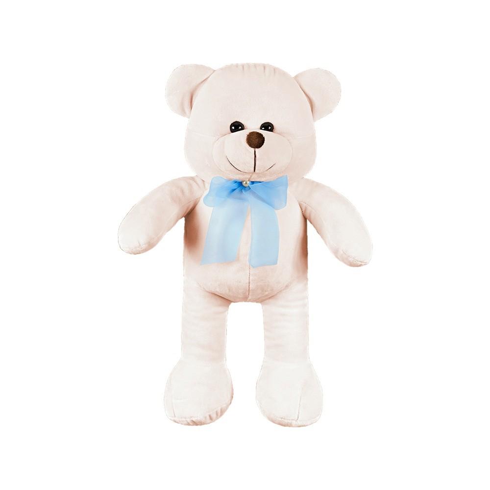 Urso Médio Palha Laço Azul Pérola