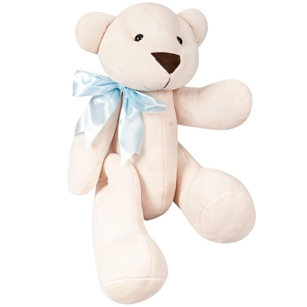 Urso Palha Pelúcia Grande Articulado Laço Cetim Azul