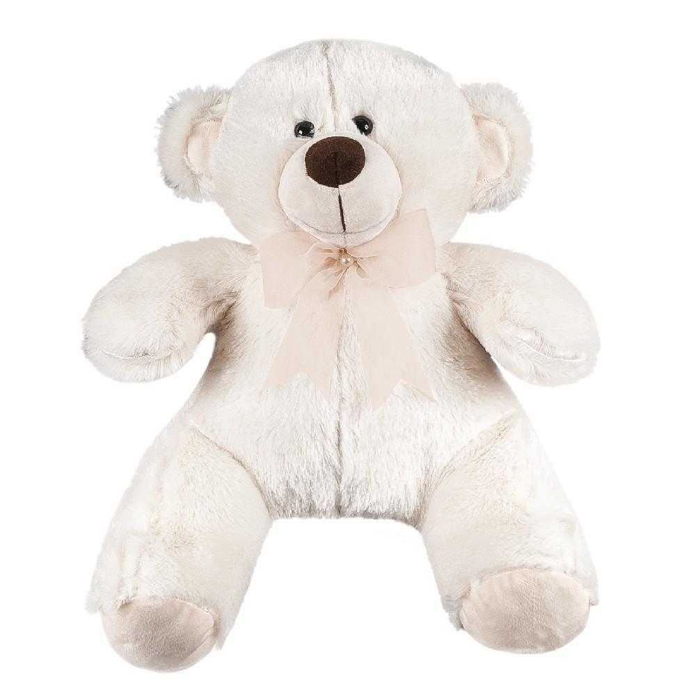 Urso Pelúcia Importada Médio Palha Laço Caqui Pérola