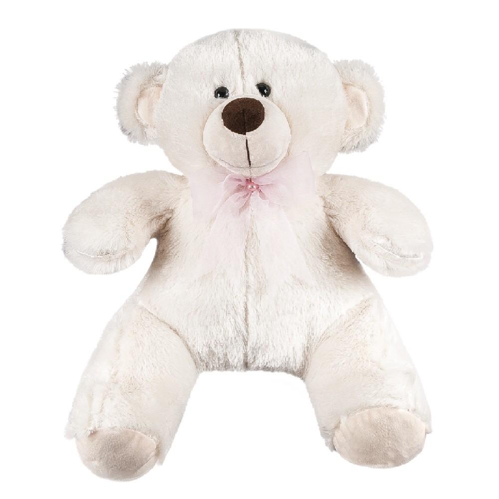 Urso Palha Pelúcia Importada Médio Palha Laço Rosa Pérola