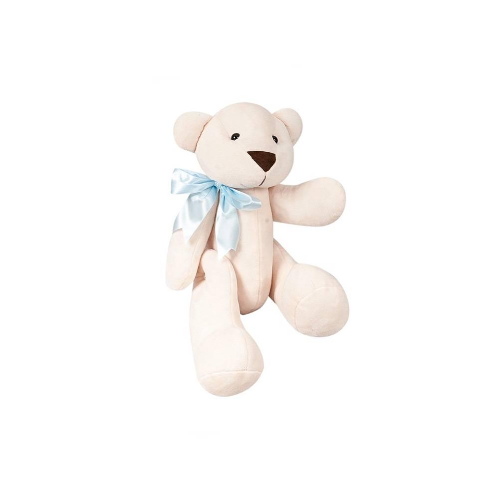 Urso Palha Pelúcia Mini Articulado Laço Cetim Azul