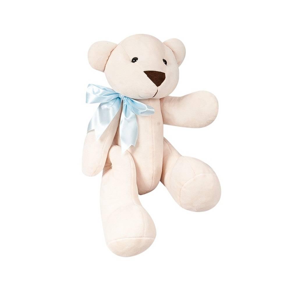 Urso Palha Pelúcia Pequeno Articulado Laço Cetim Azul