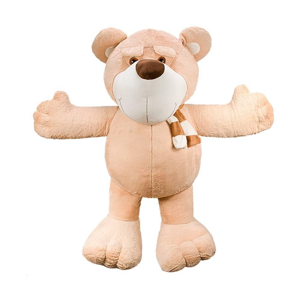 Urso Pelúcia Gigante Importada Doce de Leite Cachecol