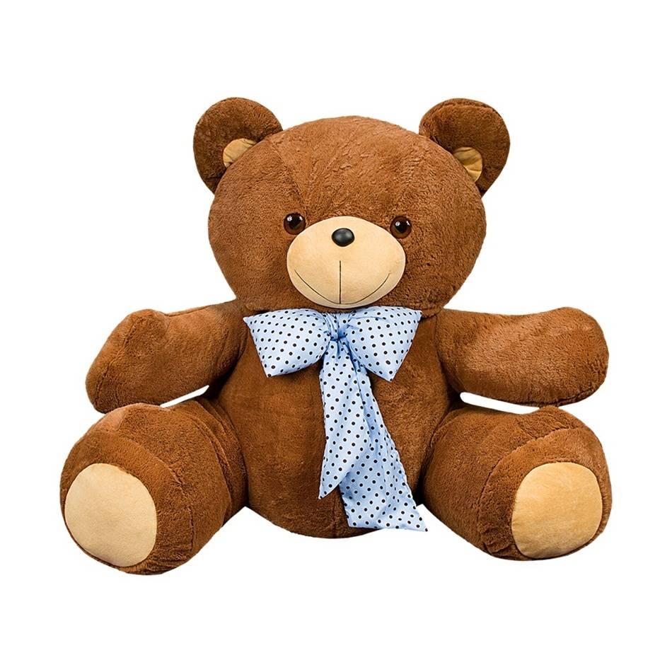 Urso Pelúcia Importada Gigante Marrom Laço Azul Bebê
