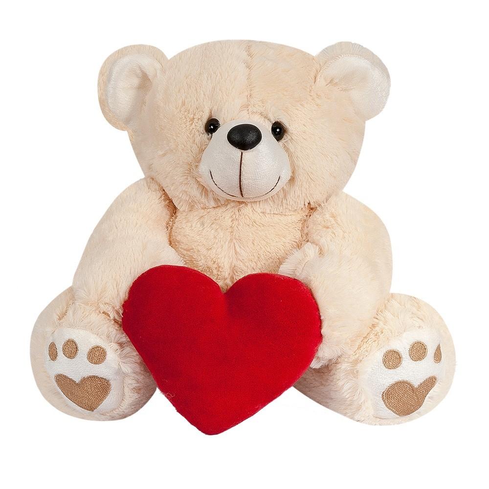 Urso Pelúcia Importada Médio Doce de Leite Coração Vermelho