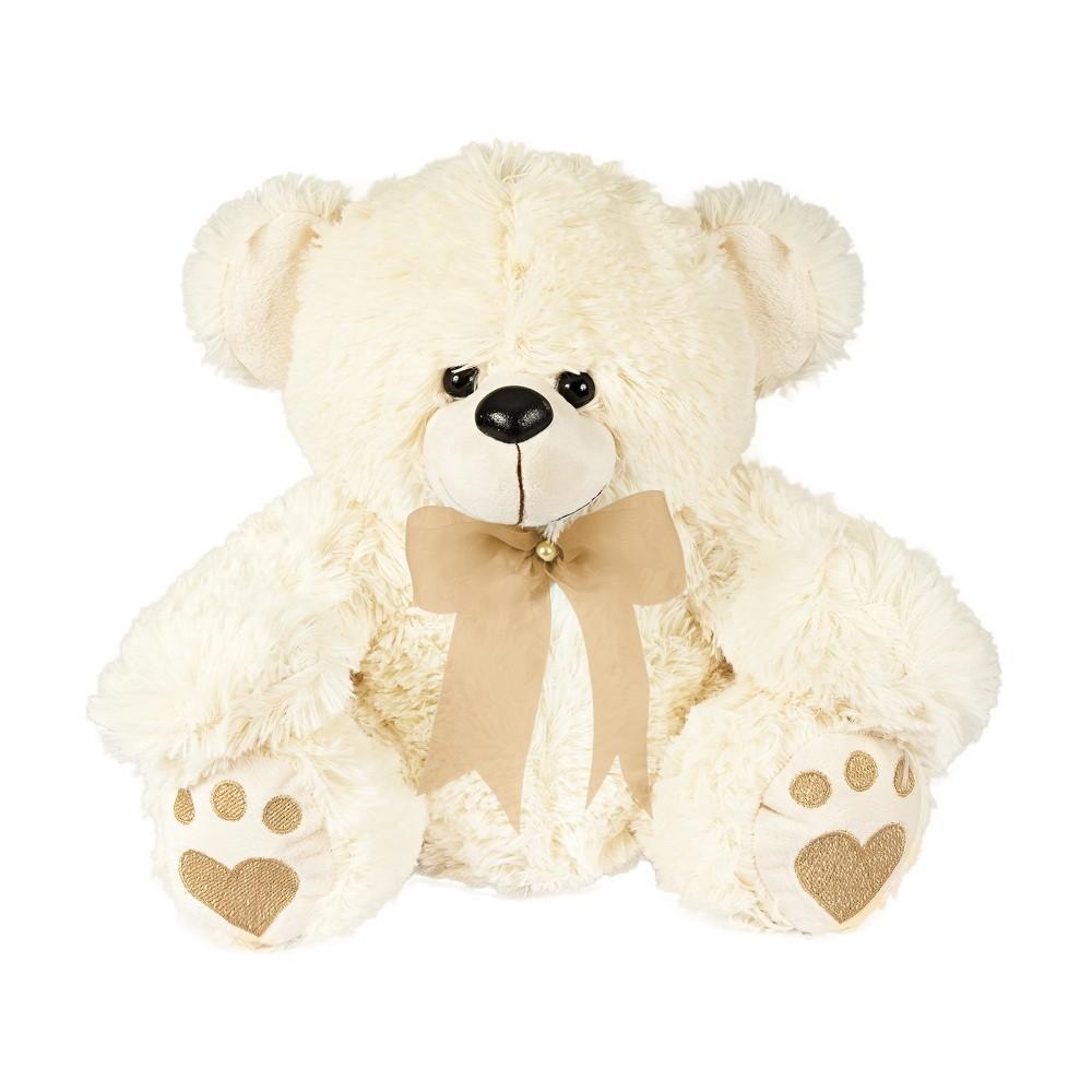 Urso Pelúcia Importada Médio Palha Laço Caqui