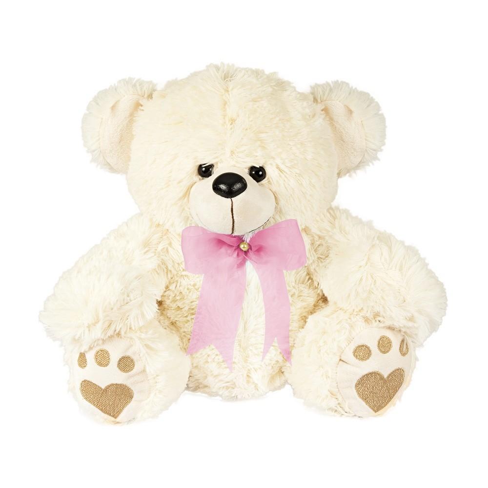Urso Pelúcia Importada Médio Palha Laço Rosa