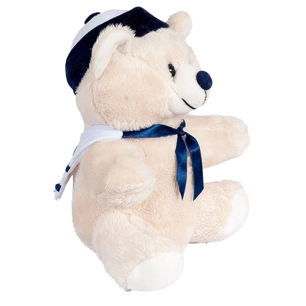 Urso Pelúcia Importada Mini Marfim Marinheiro Marinho