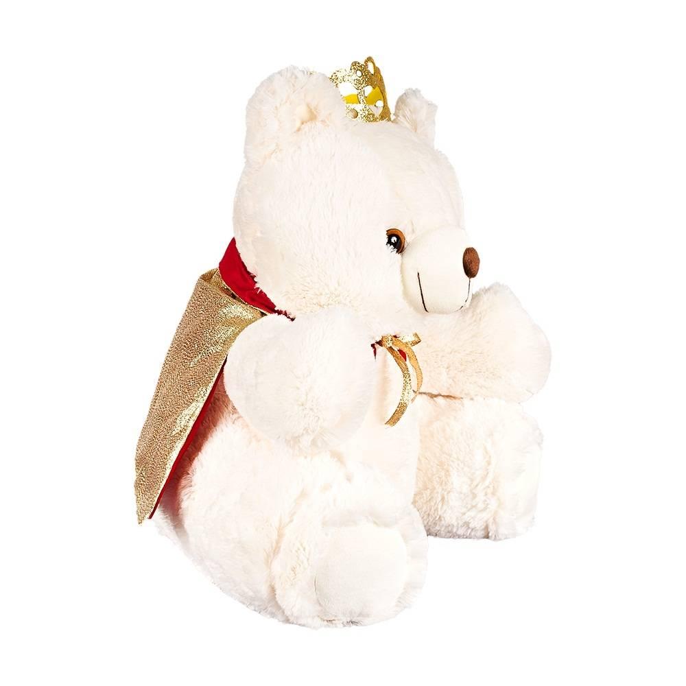 Urso Pelúcia Importada Mini Marfim Rei Coroa Capa