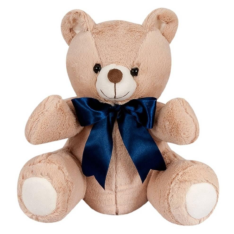 Urso Pelúcia Importada Pequeno Doce de Leite Laço Marinho