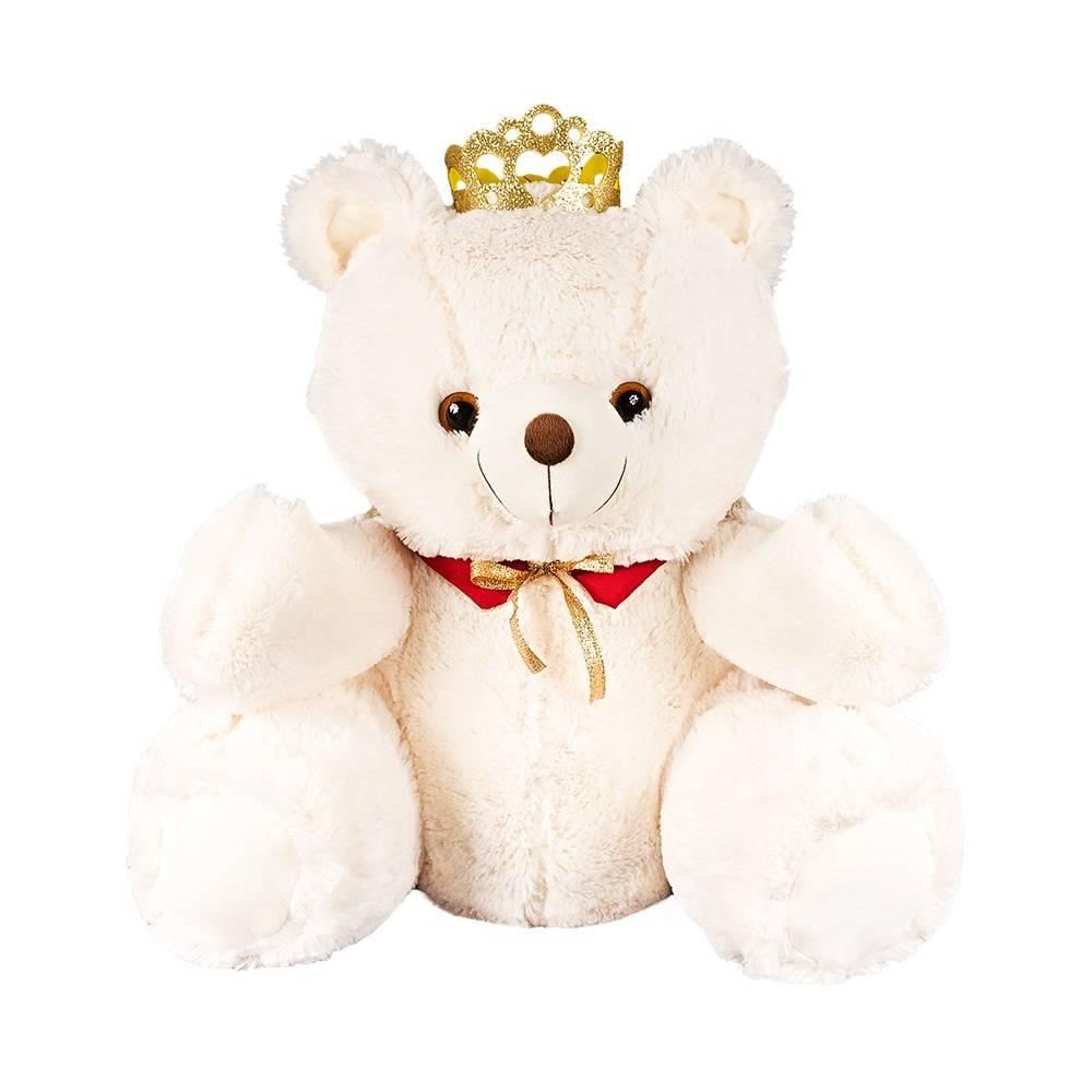 Urso Pelúcia Importada Pequeno Marfim Rei Coroa Capa