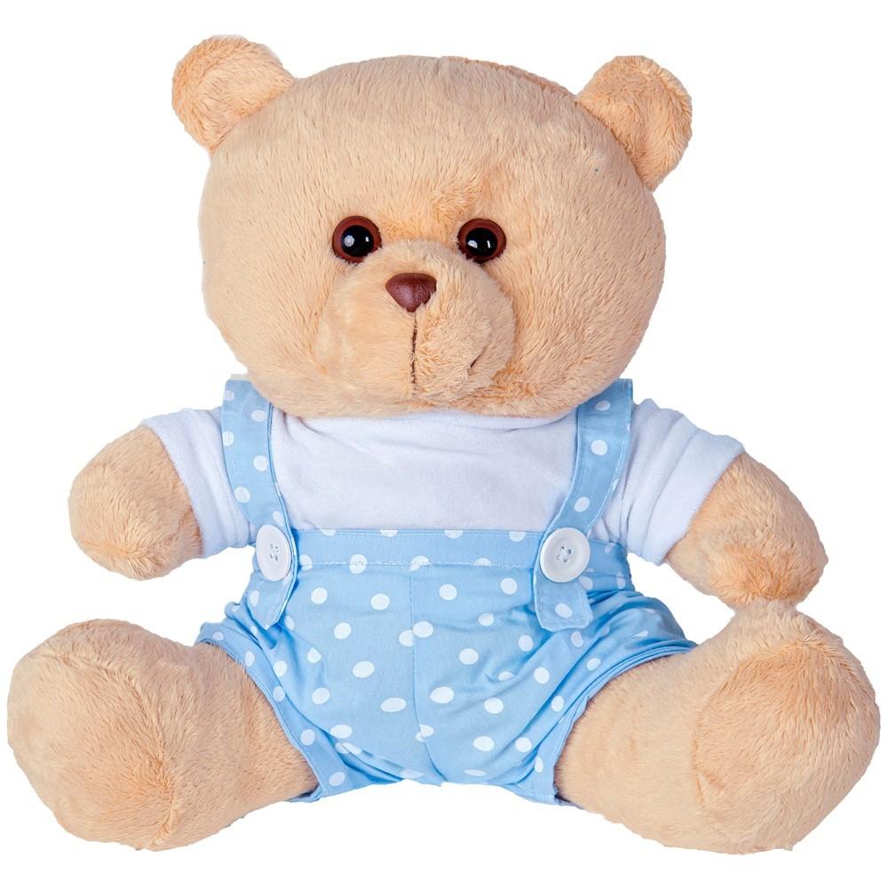Shopping do Bebê Urso Soft Gigante Jardineira Bolinhas Azul e Branco Ursos 903c287e1b276