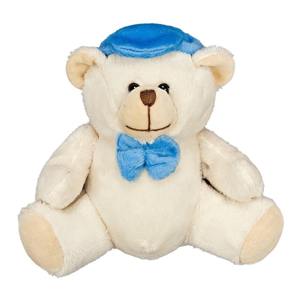Urso Soft Marfim Pequeno Boné Azul