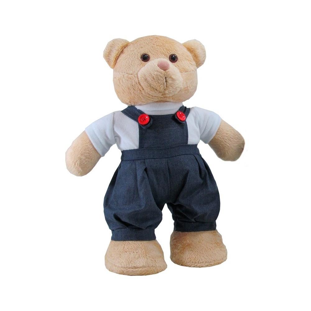 Urso Soft Pequeno em Pé Jardineira Jeans Botão Vermelho