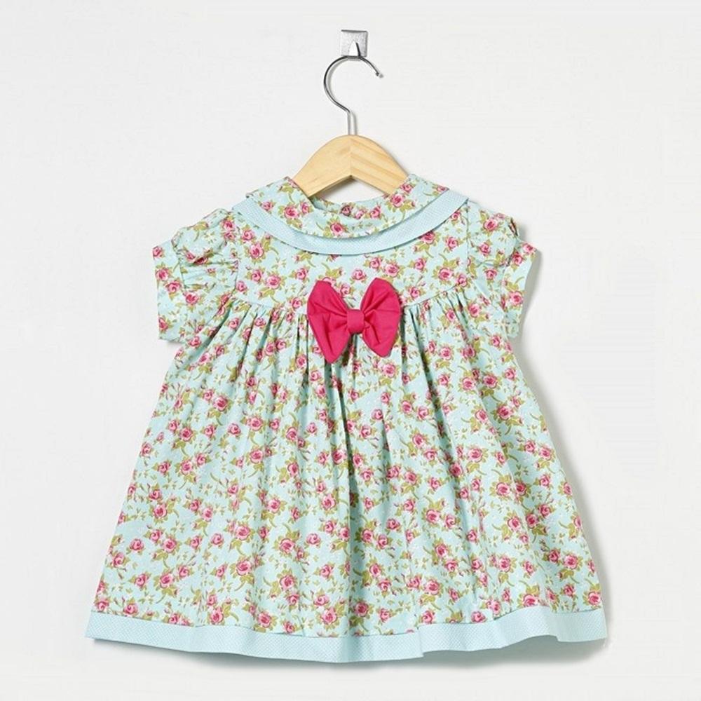 Vestido Manga Curta Floral Laço