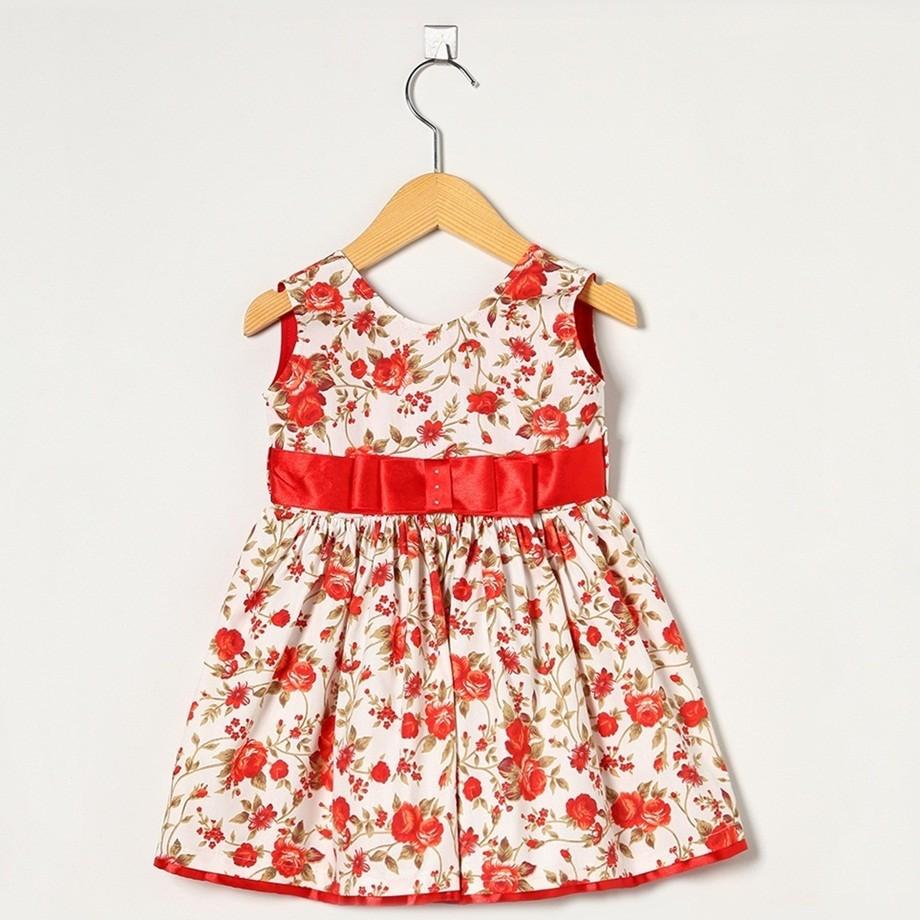 Vestido Regata Floral Laço Cetim