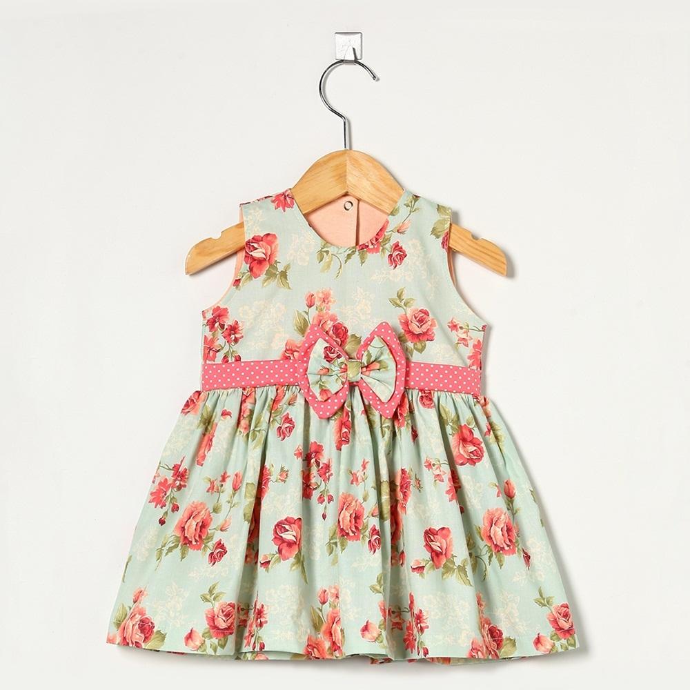 Vestido Regata Floral Laço Poá
