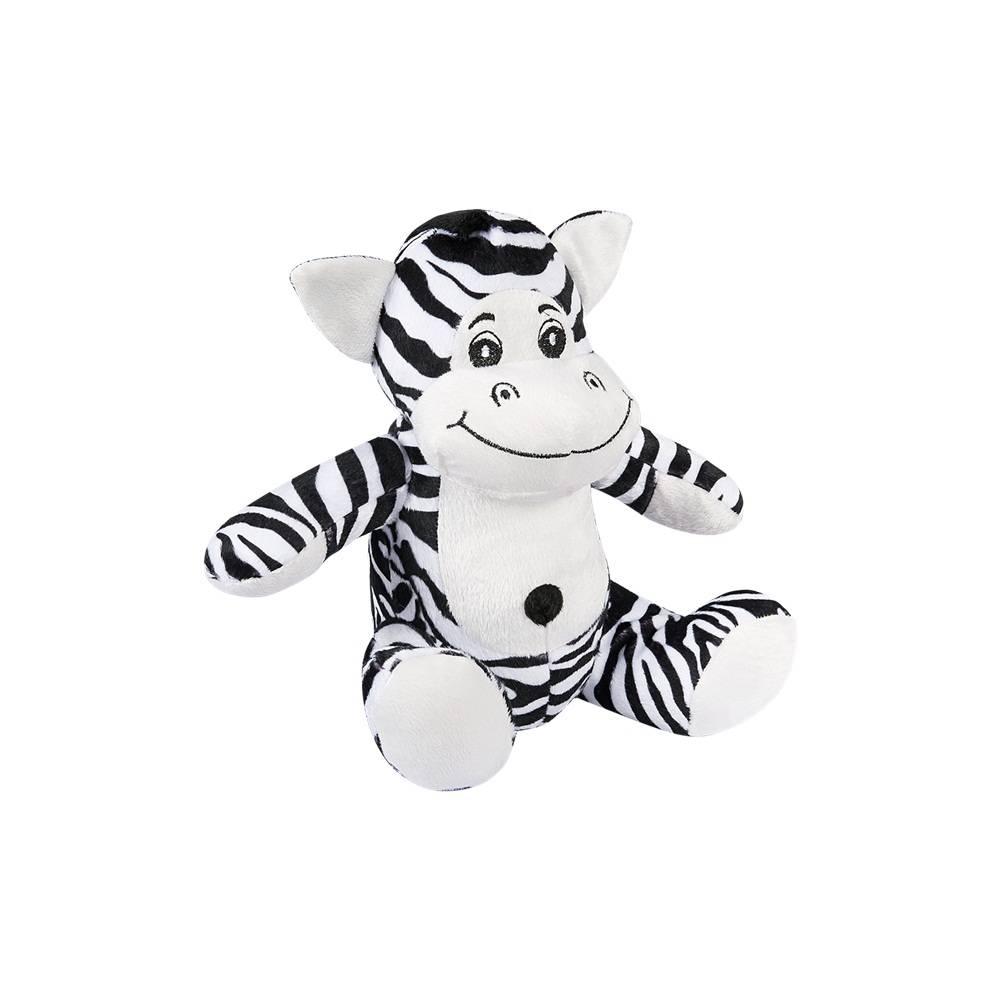 Zebra Pelúcia Importada Pequena Preta e Branca Sentada