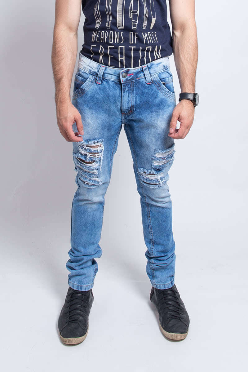 Calça Jeans com Stretch Blue light e Used na frente