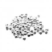 100 unids. Entremeio Mini Anilha ou Fixador Furo 1,2mm Folheado Prata PF-EN114