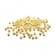 100 unids. Entremeio Mini Anilha ou Fixador Furo 1mm Folheado Ouro 18k OF-EN124